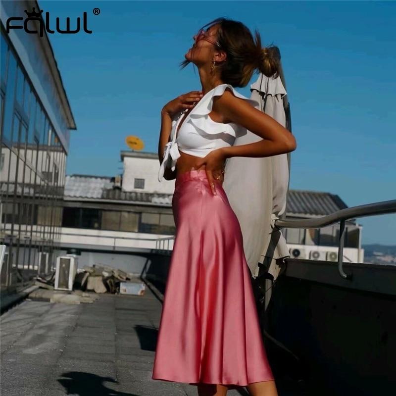 FQLWL Casual Pink Sexy Satin Skirts Womens Elegant A Line High Waist Summer Beach Maxi Skirt Ladies Bodycon Pleated Long Skirt