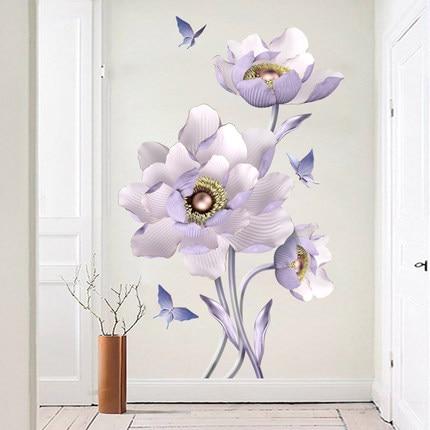 65*105 Cm Lila Romantische Blume Vinyl Wandaufkleber DIY 3D Tapete  Wohnzimmer Schlafzimmer Bad Wand Dekor Poster