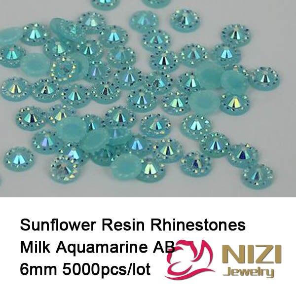 6mm 5000pcs Sunflower Jelly Flatback Round Resin Rhinestones Milk Aquamarine AB Color Beads DIY Decorations 3D Nail Art Design
