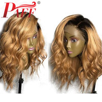 PAFF 360 Lace Frontal Wig Natural Wave Glueless Human Hair Wigs Ombre Color Blonde Brazilian Remy Hair Wig 130% 150% 180%Density