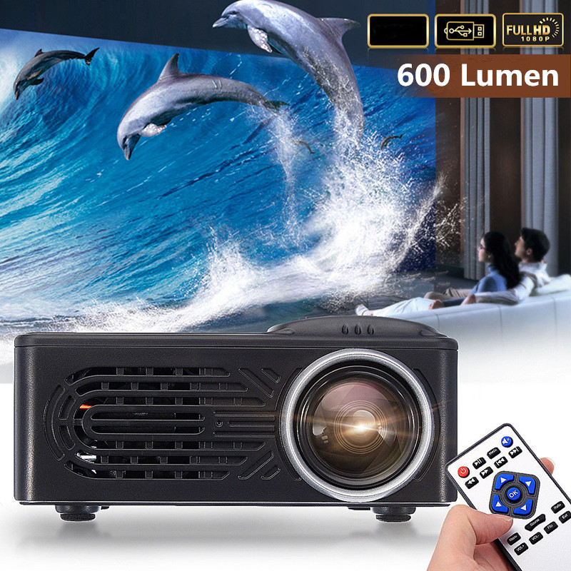 600 Lumens 1080P HD LED Portable Projector 320 x 240 Resolution Multimedia Home Cinema Video Theater цены онлайн