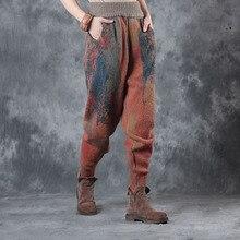 Женские теплые шерстяные штаны, зимние новые качественные штаны с эластичным поясом и карманами с цветочным принтом, винтажные женские трикотажные прямые штаны-шаровары