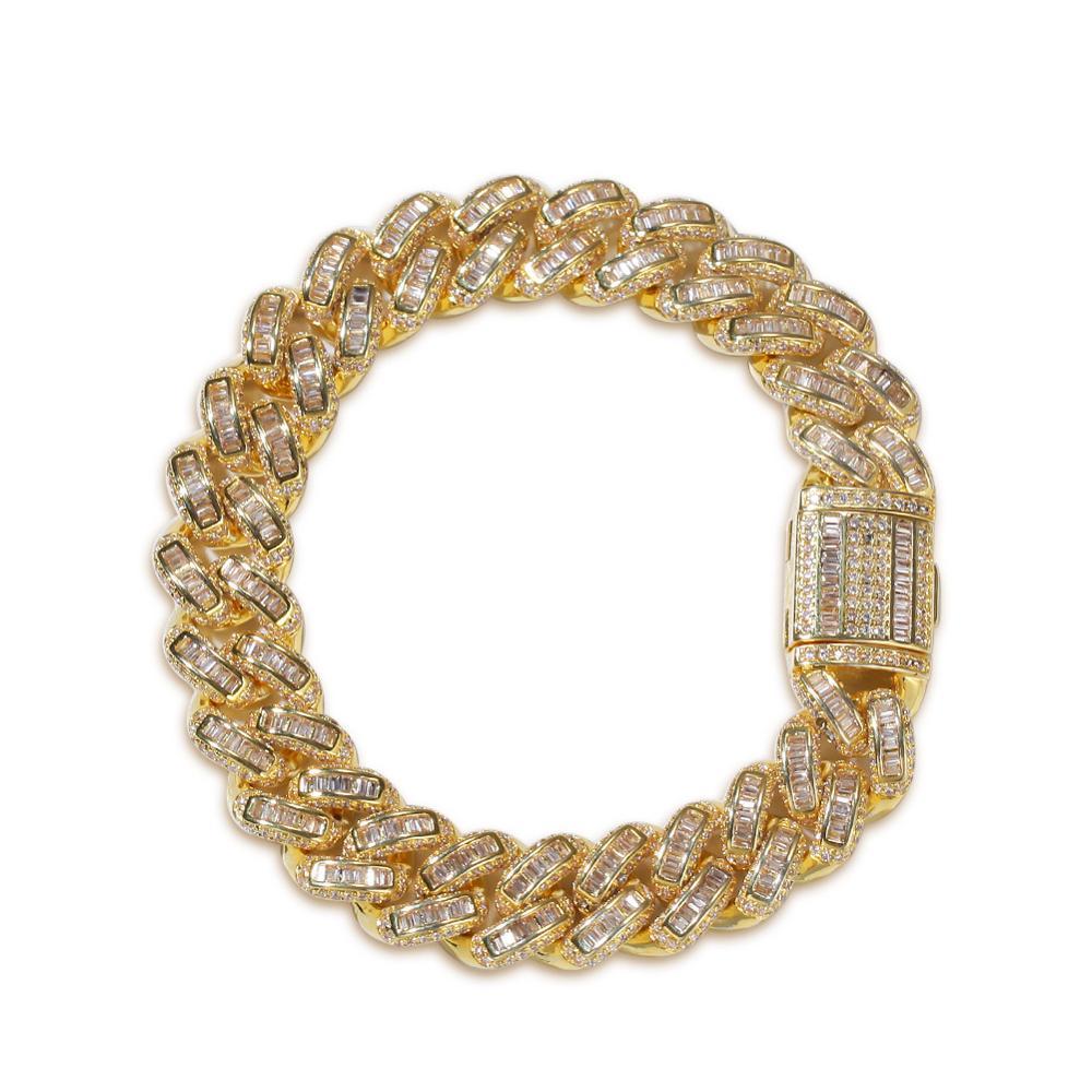 Moveon Hip Hop Square Zircon Cuban Bracelets Bangle Rap Street Dance Bangles Accessories For Women Men Bijoux Gifts