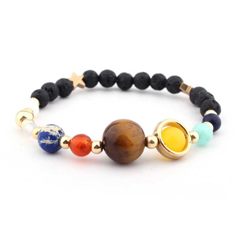 Isinyee мода Вселенной Галактики Бусины браслет для Для женщин Для мужчин Лава Черный Натуральный камень ювелирные изделия 7 Чакр молитвенные браслет подарок