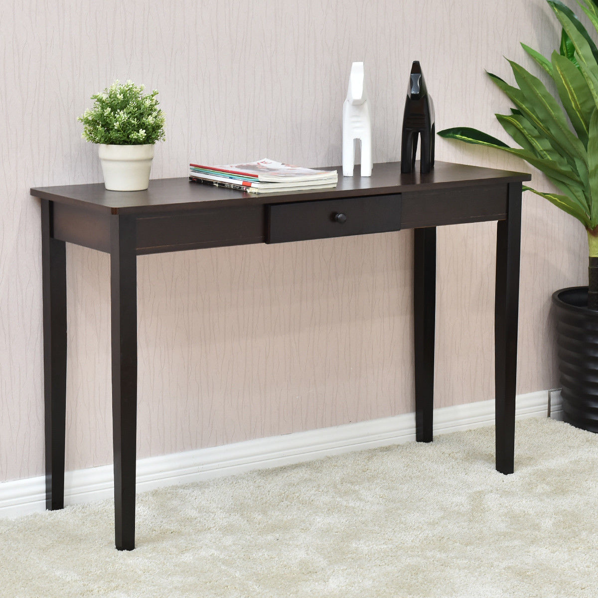 Giantex console table entry hallway desk entryway side sofa accent table with drawer modern wood living room furniture hw56071