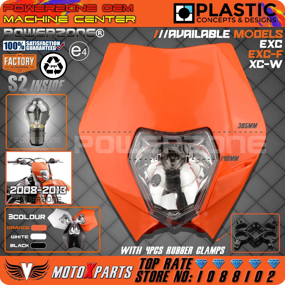 POWERZONE Headlight For KTM SX EXC XCW XCF SXF SMR Motorcycle Dirt Bike Motocross Supermoto Enduro Headlamp Headlight Fairing