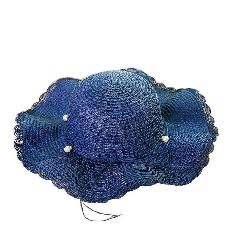 Корейская женская модная кепка женская Соломенная Солнцезащитная Панама женская цветочная Кепка летняя пляжная с козырьком для девочек 2019