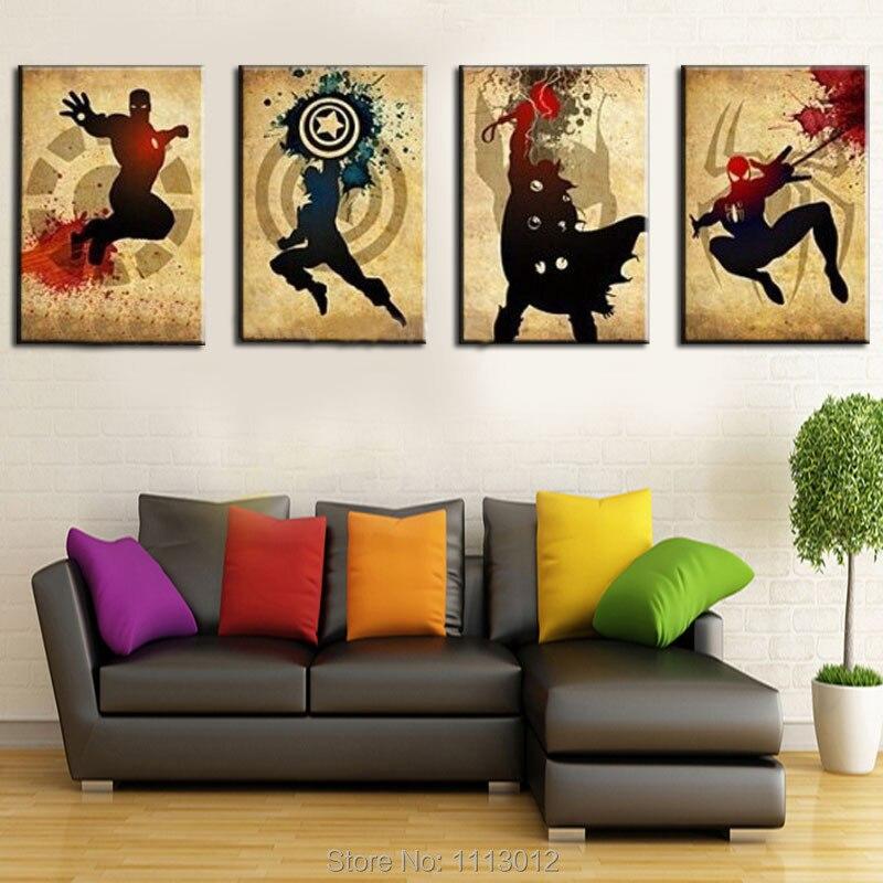 Les Avengers! Iron man, Thor Captain America, Spiderman! Peinture à l'huile abstraite moderne faite à la main Marvel Comics Art de toile de super-héros - 3
