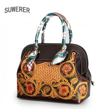 SUWERER 2018 new Women genuine Leather bags for women luxury handbags designer Embossing flowers Art tote hanbag
