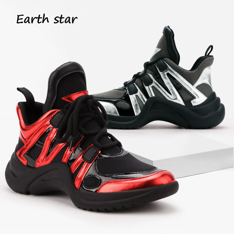 Chaussure Patchwork Marque Chaussures Croix Femmes Zapatos Mujercasual argent Rouge De attaché Sneakers Automne Dame Mode Femelle blanc Respirant OxXxqz0Fn
