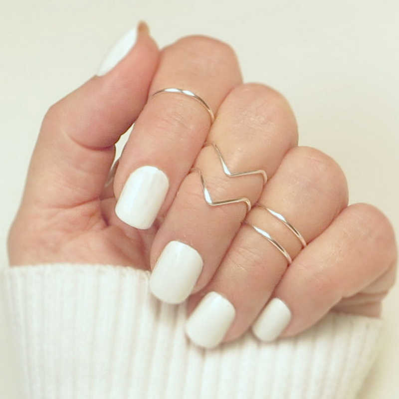 5PCS/Set Fashion Boho Double Lines V Chevron Rings For Women's Gift Simple Geometric Bague Dainty Rings Femme Jewelry
