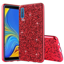 Phone Case for Samsung Galaxy A7 2018 Silicon Bling Glitter Crystal Sequins Soft TPU Cover Fundas A750