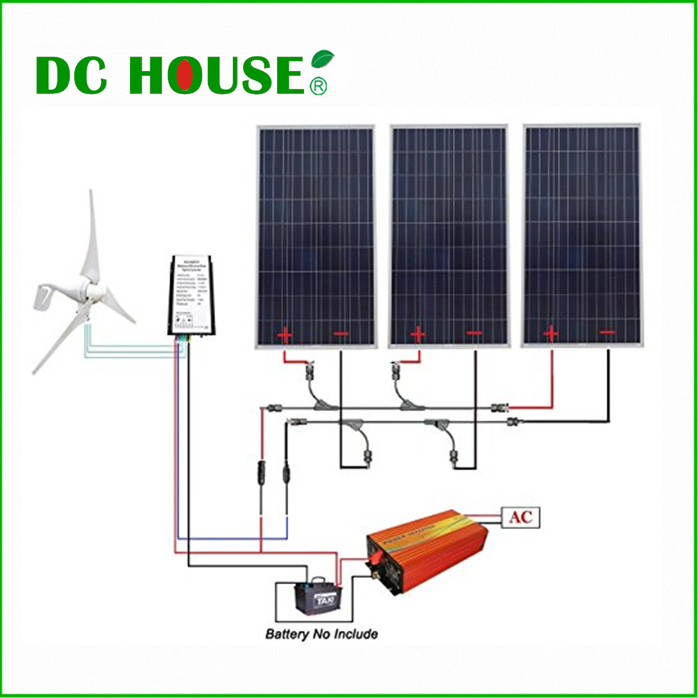 DC HOUSE USA UK Stock 880W Hybrid Kit 400W Wind Turbine Generator  3pcs 160W Solar Panel 1KW Inverter usa stock 880w hybrid kit 400w wind turbine generator