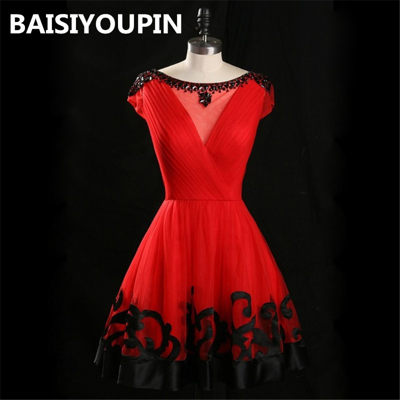 Cap Sleeve   Cocktail     Dresses   2019 Real Pictures Cheap Short Mini Red Homecoming Party   Dresses   Custom Made