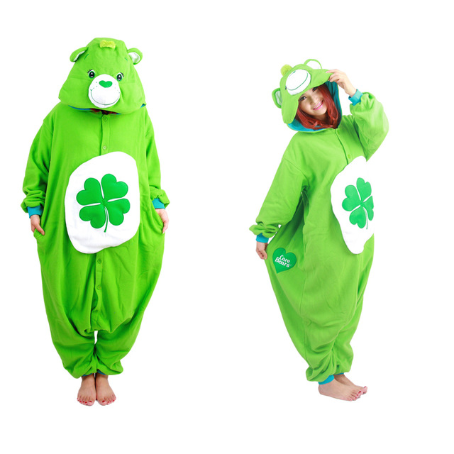 Green Four-leaf Clover Lucky Care Bear Cosplay Onesie Adult Women Men Kugirumi Partywear Unisex One Piece Hooded Pajamas