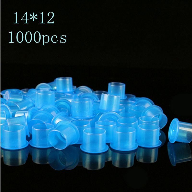 1000PCS Plastic Tattoo Ink <font><b>Cups</b></font> Medium Size 14mm <font><b>Blue</b></font> Self-standing Tattoo Ink <font><b>Cups</b></font> Caps Supply For Tattoo <font><b>Makeup</b></font> Free Shipping