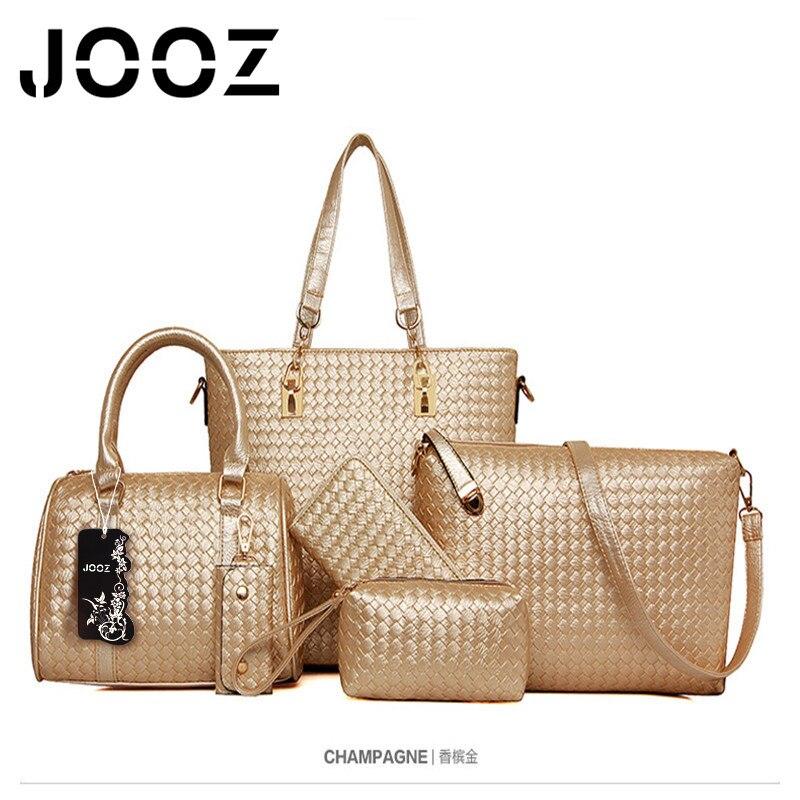 ФОТО JOOZ Brand Luxury Women Handbags Gradient Color bag Lady Handbag 5 Pcs Composite bags Women Shoulder Crossbody Bags Purse Clutch