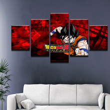 5 Panel Cartoon Game Dragon Ball Z Goku Modern Home Wall Decor Canvas Picture Art HD Print Painting On Canvas For Living Room(China)
