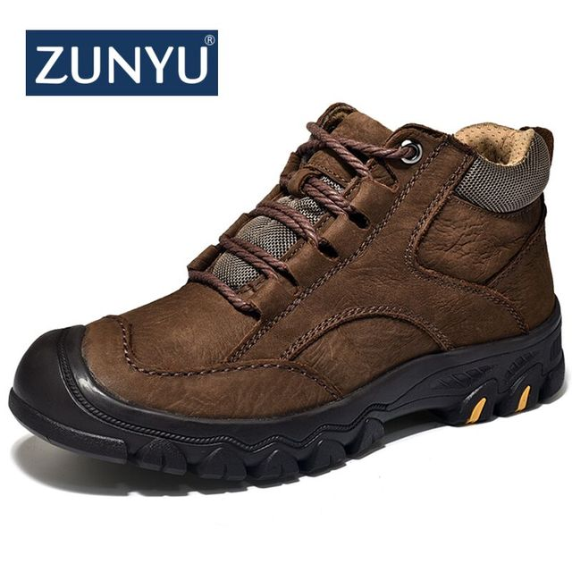 ZUNYU New Plush Super Warm Men's Winter Cow Leather Ankle Boots Men Autumn Snow Boots Casual Autumn Boots Shoes Mens