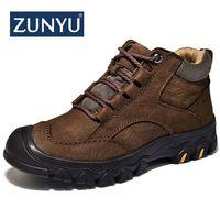 ZUNYU New Plush Super Warm Men's Winter Cow Leather Ankle Boots Men Autumn Snow Boots Casual Martin Autumn Boots Shoes Mens