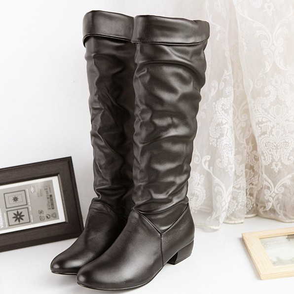 Leather Booties Knee High Women Boots Soft Leather Slip On Big Size 4 10.5