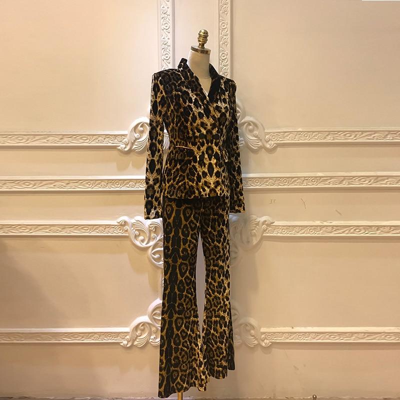 Vintage Leopard Women's Pant Suits Double Breasted 2 Piece Set Women Blazer Jacket Tops & Flared Trouser Long Sleeve Office Suit