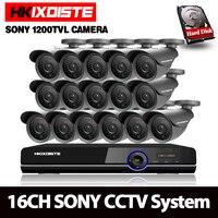 16CH AHD 1080 P NVR DVR система видеонаблюдения комплект 16CH AHD видеорегистратор + ИК 30 м Открытый Пуля безопасности SONY 1200TVL HD камеры системы комплект
