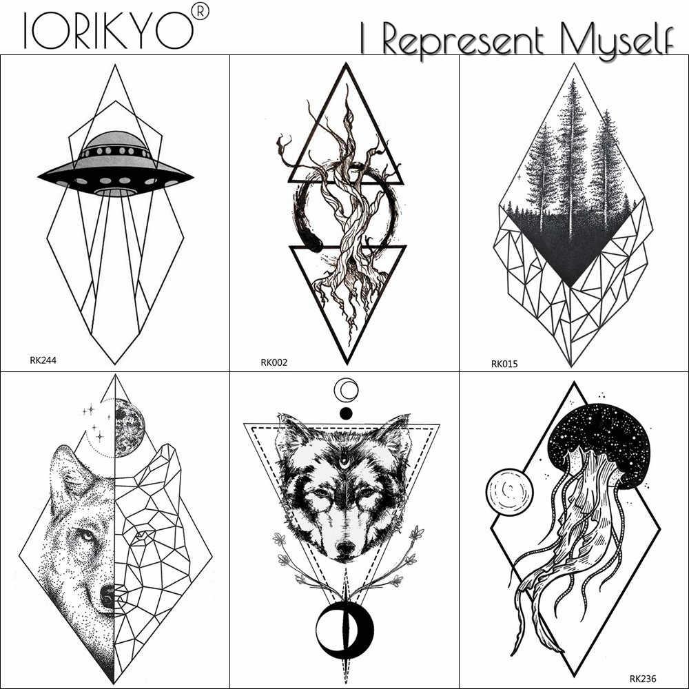 Waterproof Triangle Wolf Tattoo Stickers Women Arm ...
