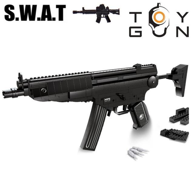 597 unids MP5 Asalto Rifle de Francotirador Ametralladora PISTOLA Arma Modelo 1:1 Modelo de DIY 3D Bloques de Construcción de Ladrillos de Juguete Para Niños Regalos