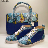 Latest Match Blue&Snake Leather Shoes With Handbag Sets Top Grade With Big Bag Hot Selling! 36 44 WENZHAN Wholesale A812 1