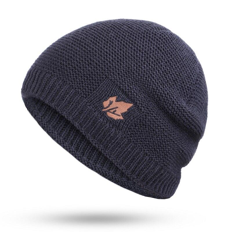 Зимние мужские вязаные шапки, шарф, уличные теплые бархатные унисекс новые модные трендовые брендовые шапки кленовый лист, кожаный Стандартный комплект для мужчин - Цвет: Navy B