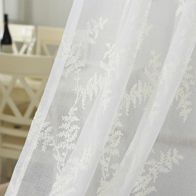 Simple Home Diy Fabrics Cotton 280x100cm White Flower Embroidered Sheer Tulle Curtains Fabric For Kitchen Living