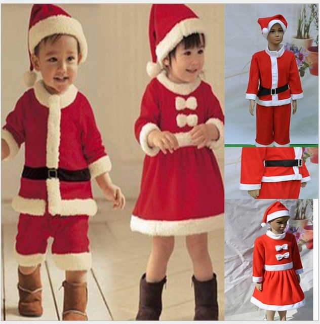 e83913eb3 Merry Christmas Cute Infant Children Costume 2-7 Years Old Boys&Girls Red Christmas  Clothing Set of 3 +Free Shipping