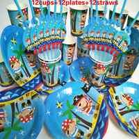 36 stücke tassen teller strohhalme baby pirate Kids Birthday Party Decoration Set Partei Liefert baby-dusche hochzeit Pack event supplies