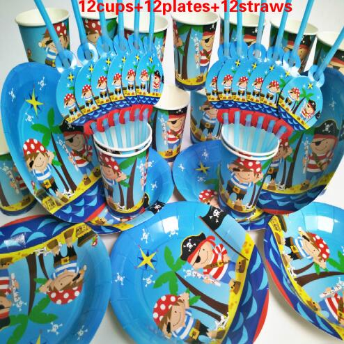 Unids 36 piezas tazas pajitas bebé pirata niños fiesta de cumpleaños decoración Set fiesta suministros baby shower boda paquete evento suministros