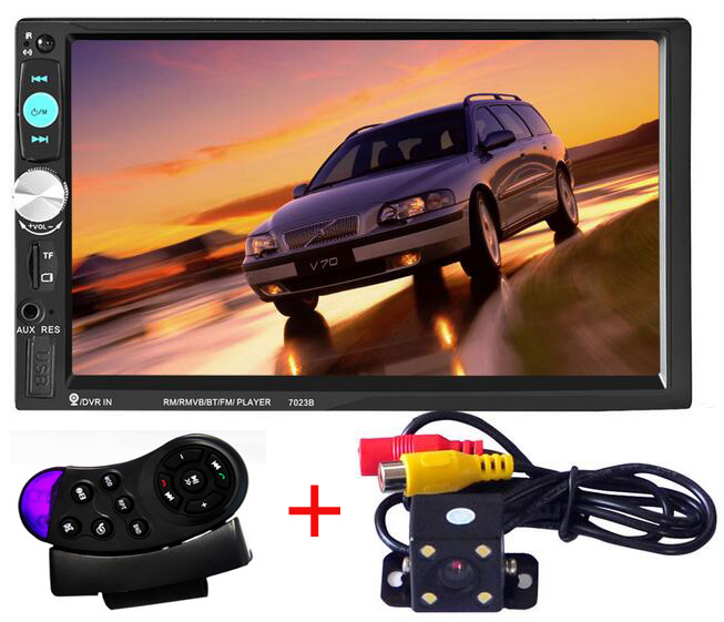 7 inch 2 Din Car Audio Stereo MP5 Player with Camera Support Bluetooth Handsfree Steering Wheel Remote Control USB TF AUX