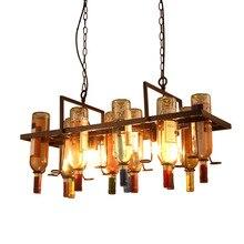 Lámpara colgante de Metal Industrial reciclada DIY colgante de botella de vino lámparas de techo colgante E27 luz para Bar/restaurante/Loft