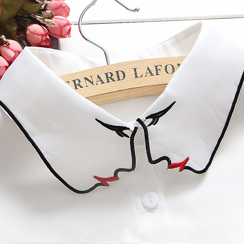 Fashion Women Face Embroidery False Collar Doll Chiffon Thin Faux Col Half Shirt Blouse Sweater Croptop Collars Custom