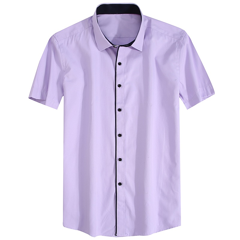 Alimens & Gentle Mens Short Sleeve Casual Dress Shirt Plus Size 2017 Fashon New High Cotton Solid Color Striped Style