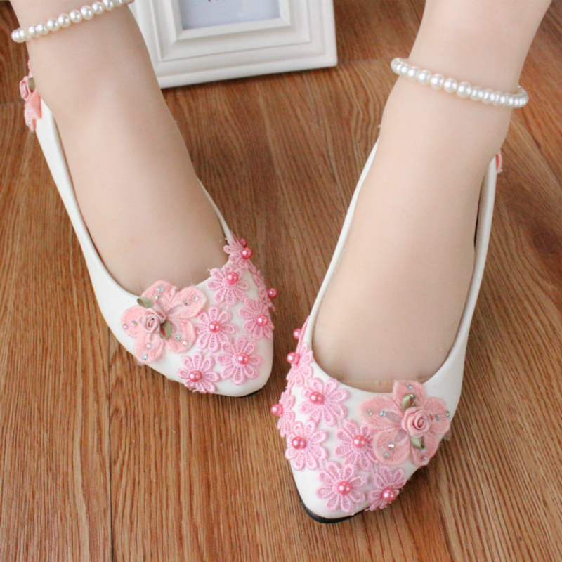 Pink 100 cotton handmade flower shoes bridesmaid shoes pearl bangle wedding shoes