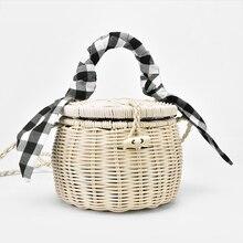 Nuovo rattan borsa della borsa della grata sciarpa di seta borsa di paglia portatile cilindro piccolo vaso borsa da spiaggia