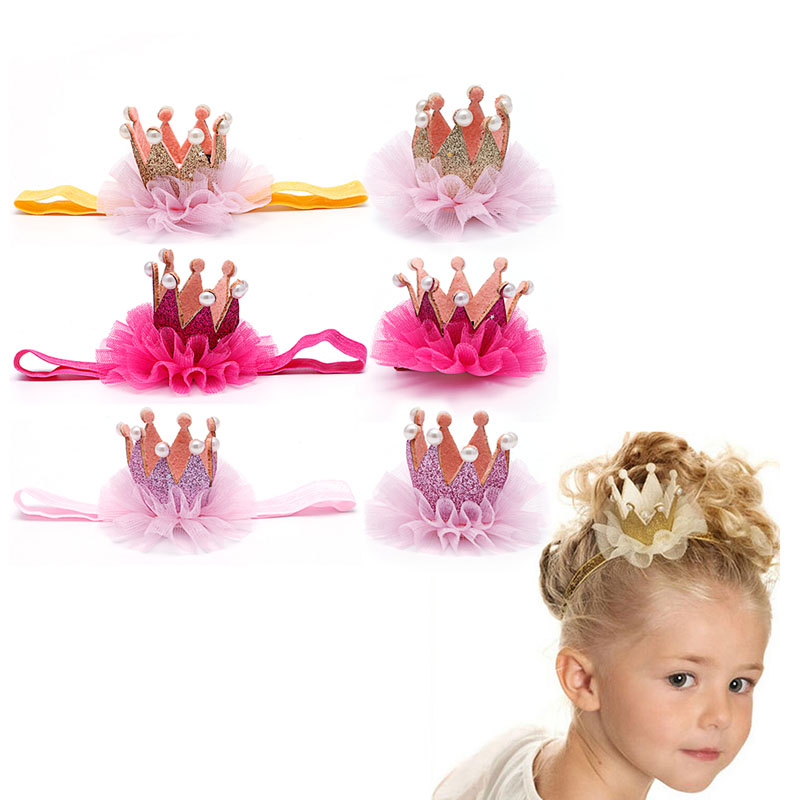 Children Girls Crown Princess Hair Clip Gold Yarn Glitter Lace Pearl Headwear Headband Solid Cute Fashion Styling Tool cheap 1pcs women headwear scissors comb hair clip hair accessories headpiece hairpin headwear gold silver color drop shipping
