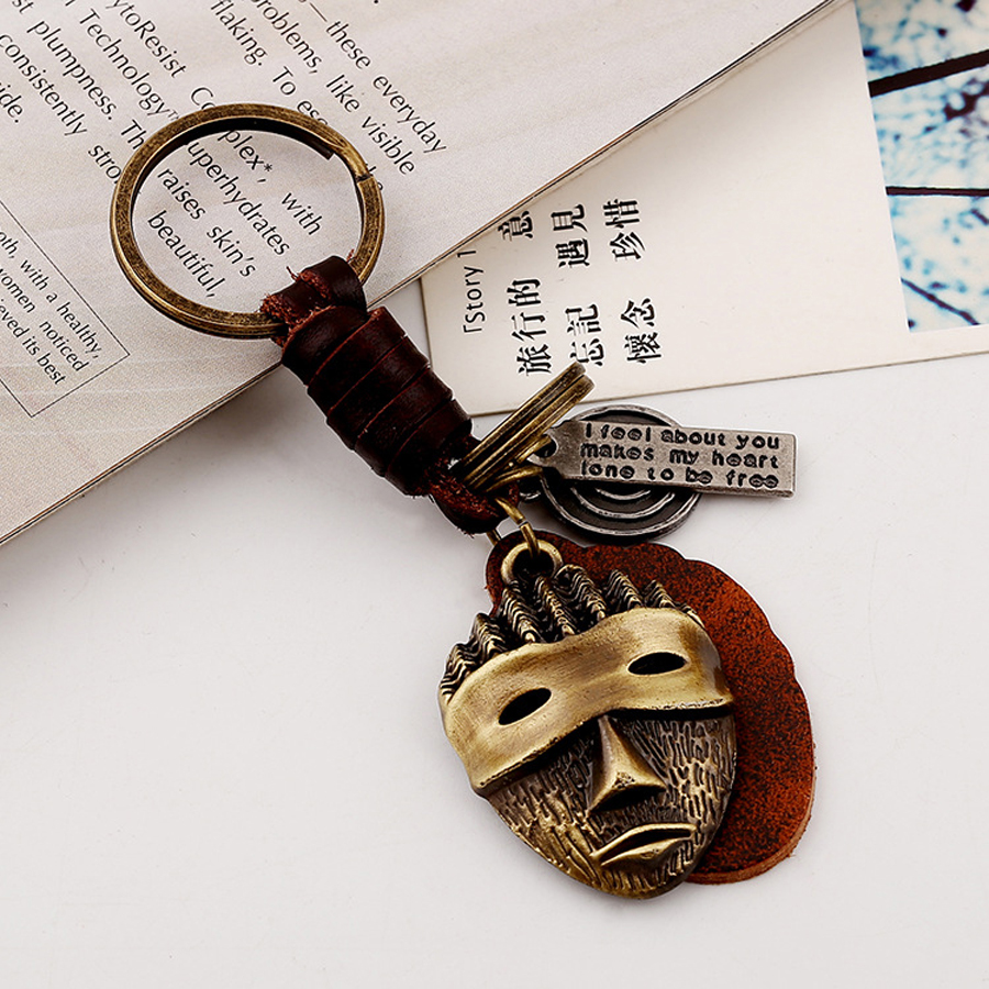 Novelty Punisher Skull Style Keychain Fashion Vintage Leather Skeleton Mask Keyfobs Charm Car Key Chain Ring Jewelry Gift FY037