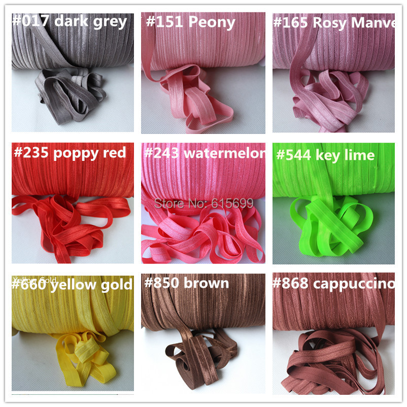Free DHL/Wholesale Solid fold over elastic 51colors 100yards per color for headbands hair Accessories