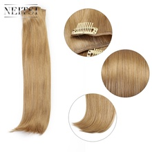 Synthetic-Hair-Extensions Neitsi 3pcs/Set Straight-Hairpieces Gold-Blonde Clip-In 536