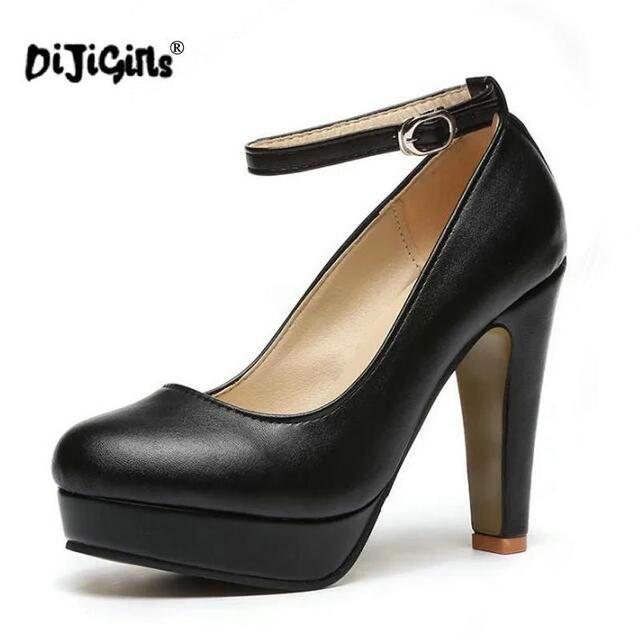 4954893f37 DIJIGIRLS 2018 mulher Bombas de outono sapatos de salto grosso ol alta- sapatos de salto