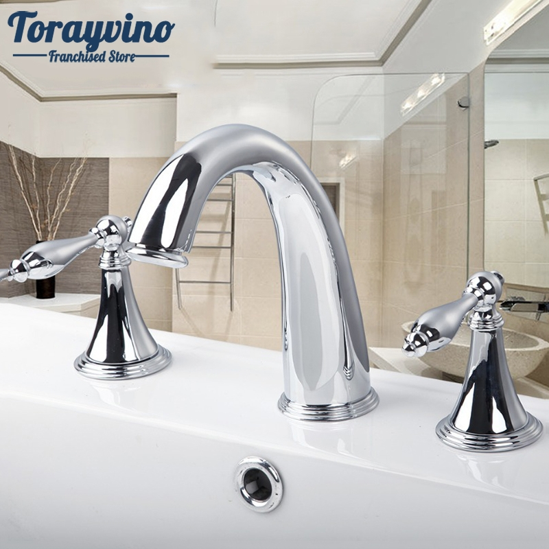 цена на Torayvino Chrome Finish 3 Pcs Faucet Spray Tap 2 Handle Waterfall Bathroom Basin Sink Bathtub Mixer Faucet 30H Mixer Tap Faucets