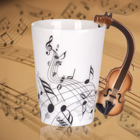 Hot Sale Personality Music Blue Guitar Electric Bass Black Note Porcelain Coffee Milk Tea Water Cups