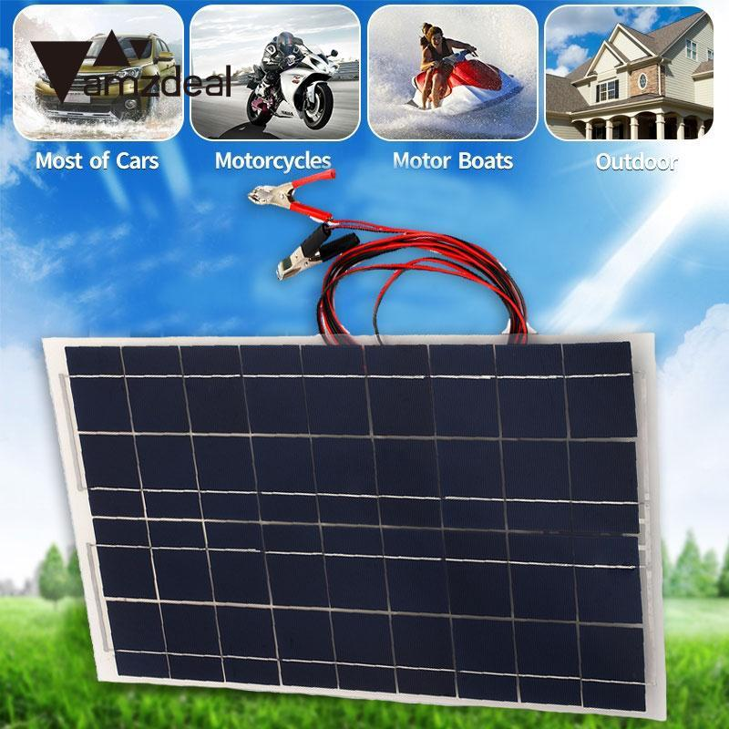 amzdeal DIY 18V 30W Smart Solar Panel Car RV Boat Battery Charger Universal W Alligator Clip