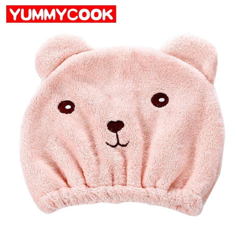 Portable Women's Cartoon Bear Dry Hair Hat Home Textile Baths